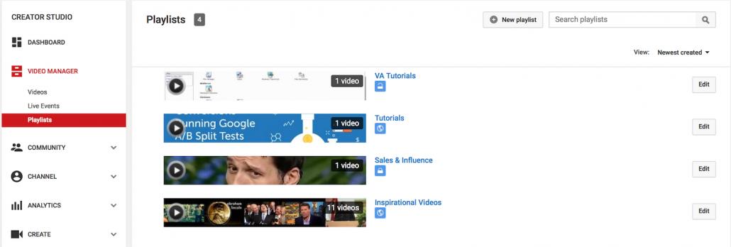 YouTube 6 Playlists