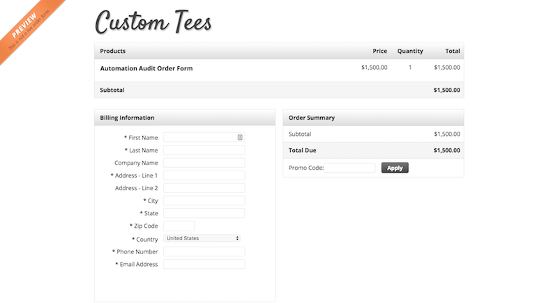 Image of Custom Tees Order Form