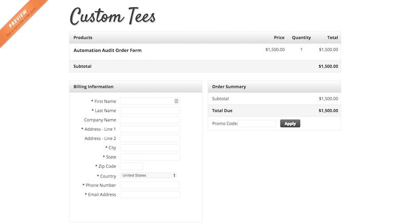 Image of Custom Tees Order Form