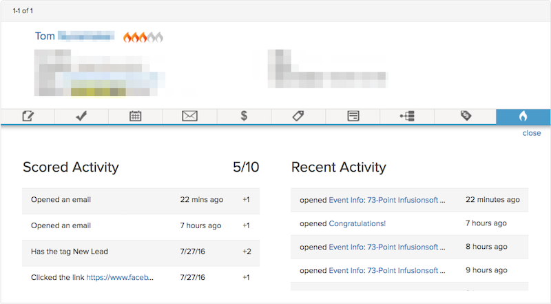 Image of Infusionsoft Scored And Recent Activity