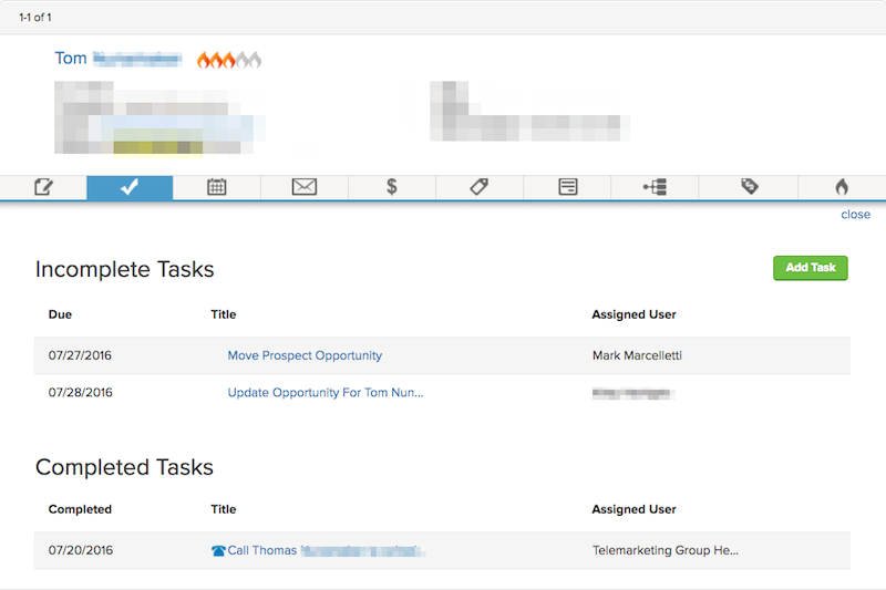 Image of an Infusionsoft Tasks